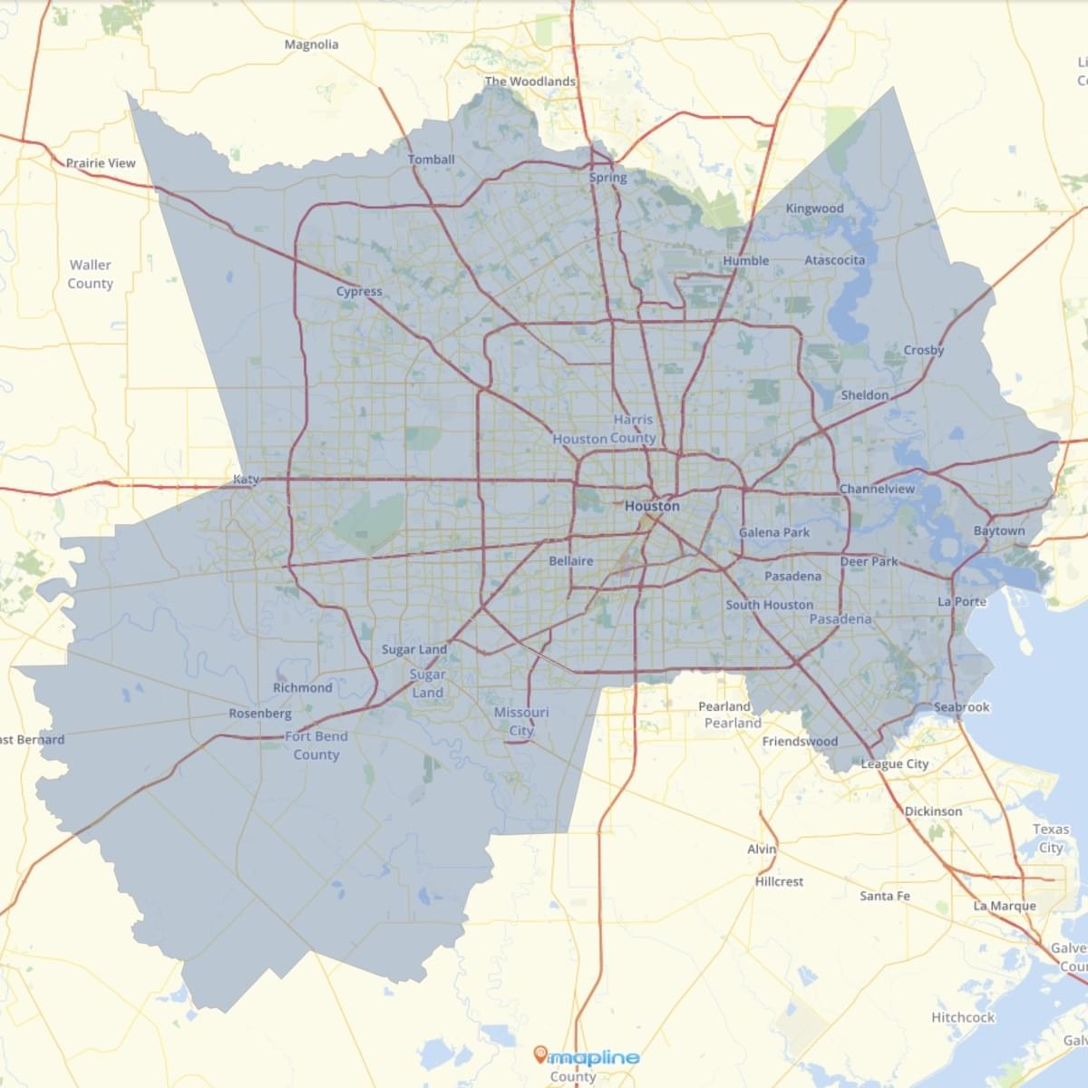 houston metropolitan area zip code map